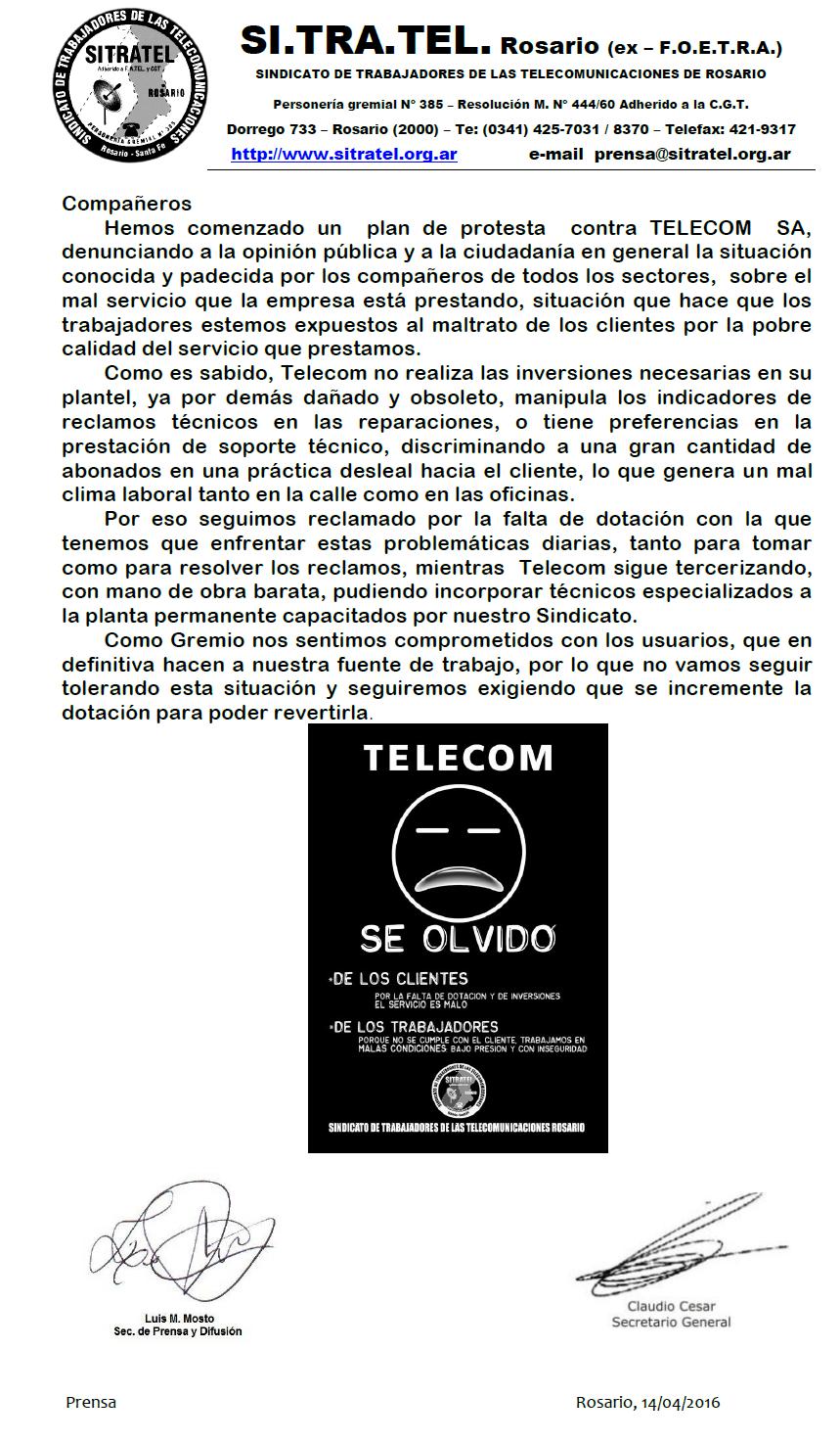TELECOM SE OLVIDO