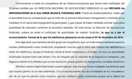 EL MINISTERIO DE TRABAJO RECONOCE LAS AUTORIDADES DE SITRATEL