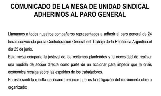 Comunicado de la MUS: Nos adherimos al Paro General del 25 de Junio