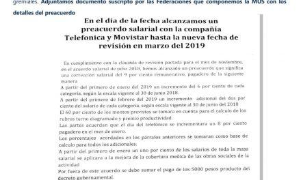 Retransmitimos comunicado de FATTEL – Preacuerdo salarial de la MUS con TASA – Movistar