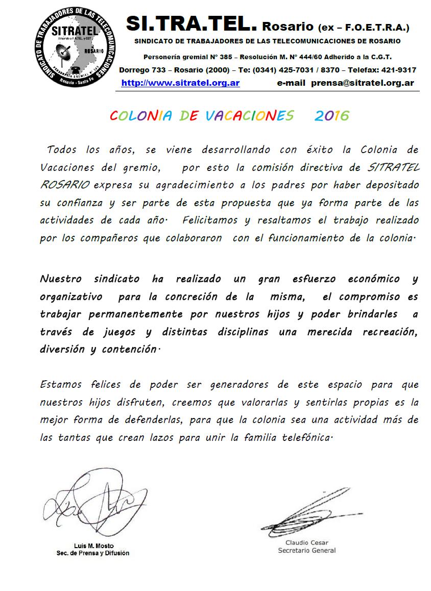 FINAL DE COLONIA 2016