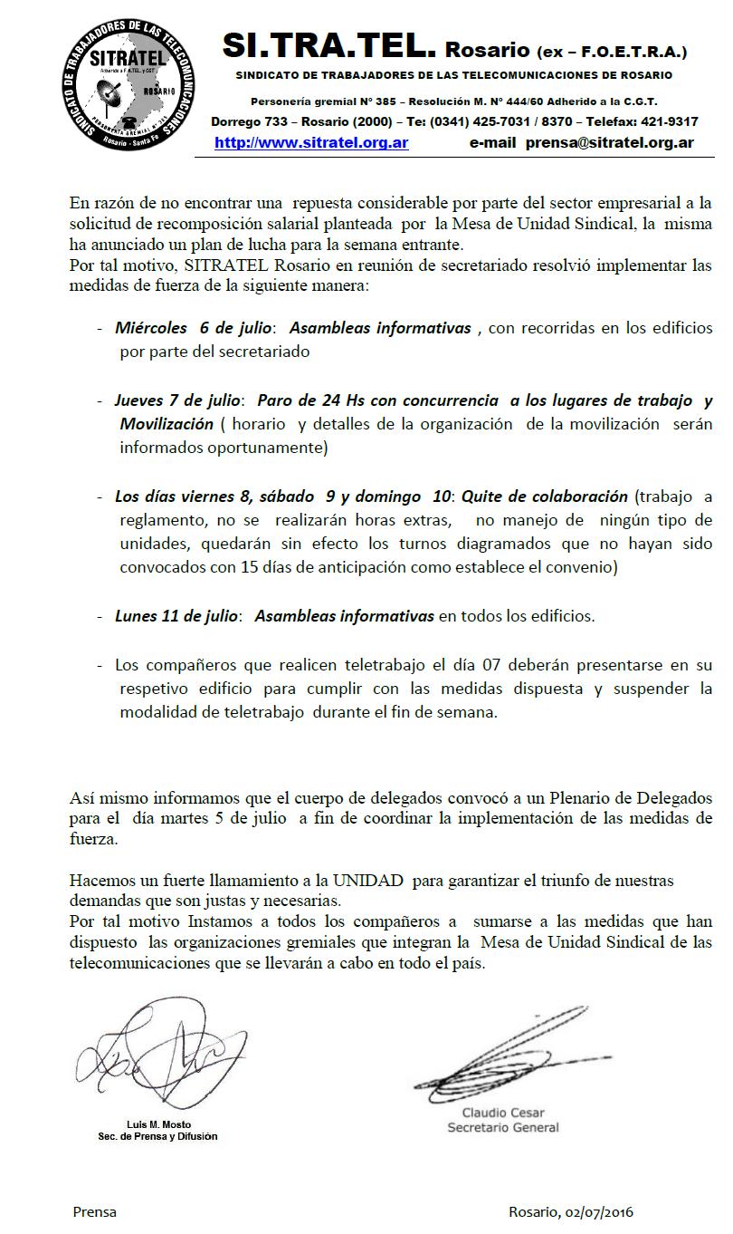 MEDIDAS DE FUERZA - SITRATEL