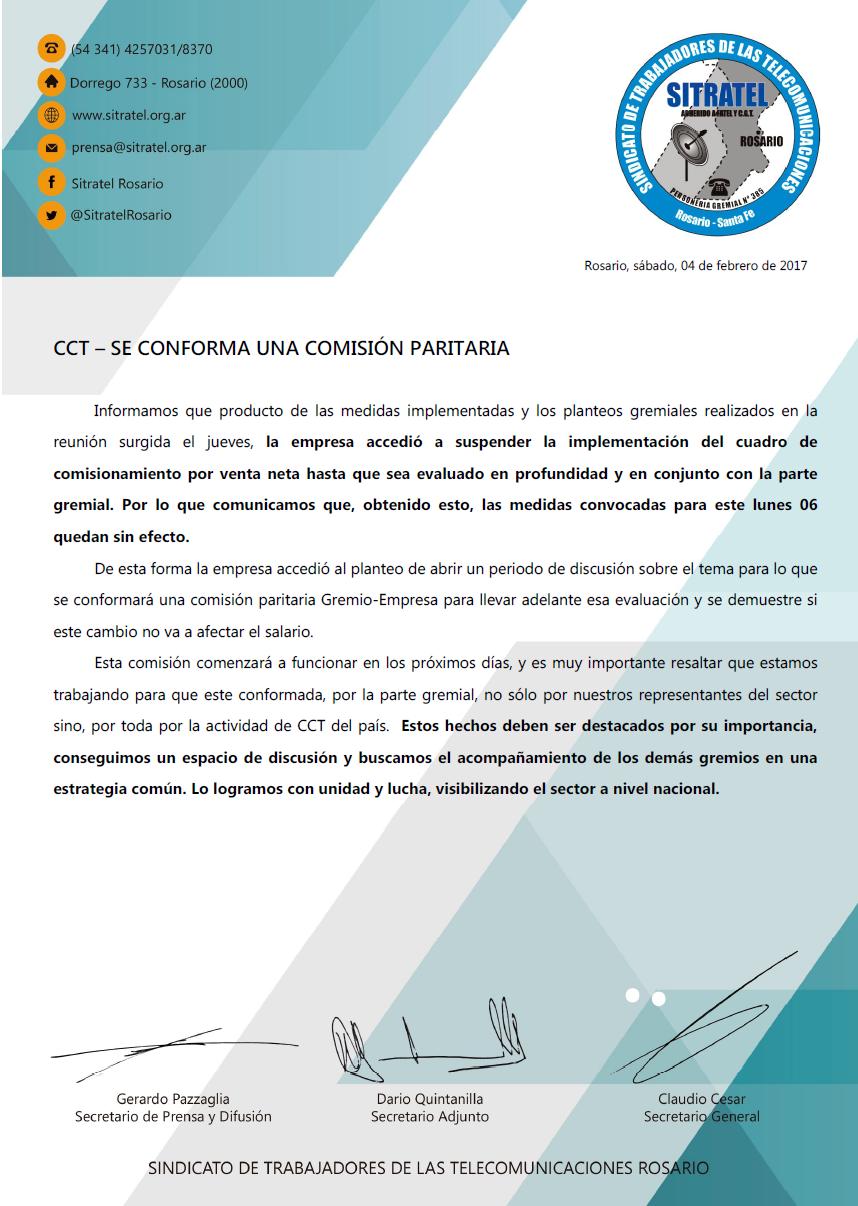 CCT – se conforma una comisión paritaria