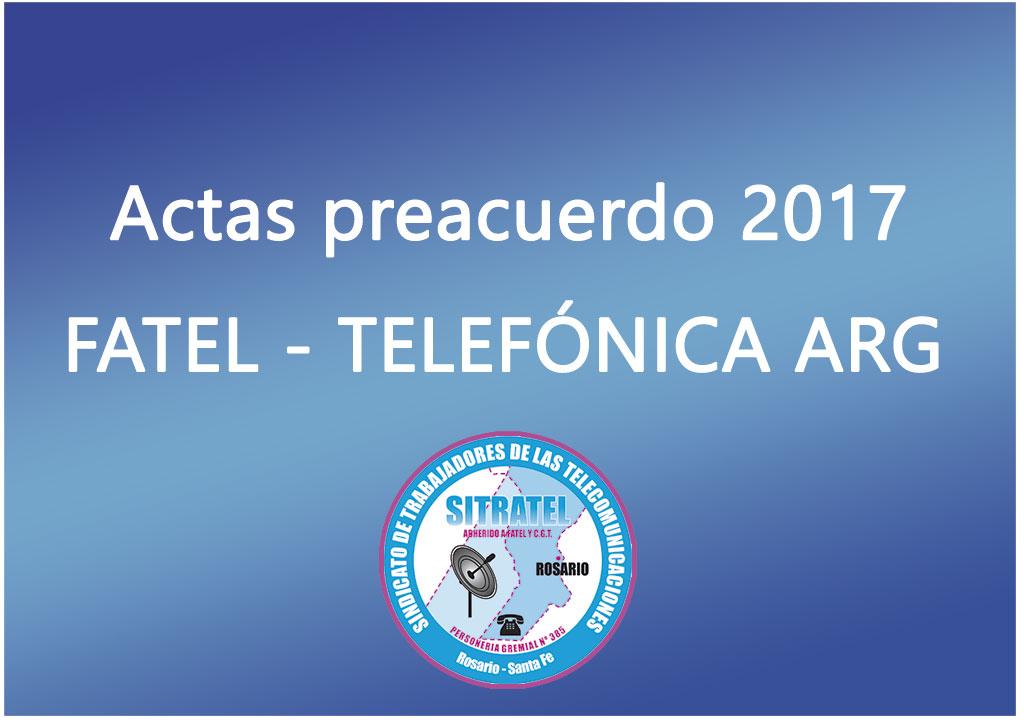 Actas Preacuerdo Salarial 2017 con Telefónica Argentina (TASA)