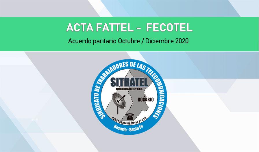 Paritaria Salarial FATTEL – FECOTEL (COOPERATIVAS) Oct / Dic 2020