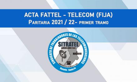 Paritarias 2021-22: Acta Salarial con Telecom (Fija)