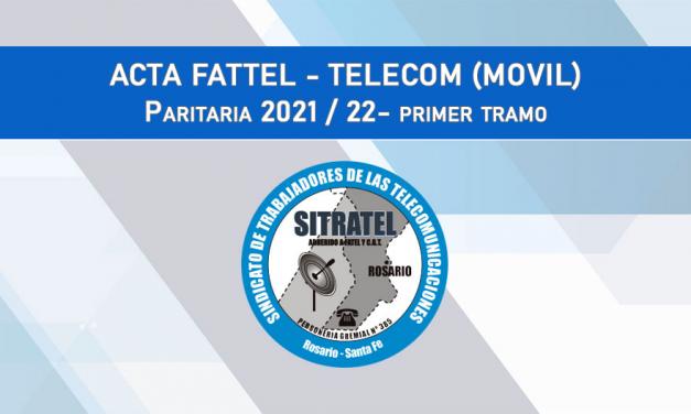 Paritarias 2021-22: Acta Salarial con Telecom (Móvil)