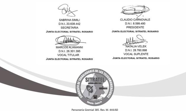 Junta electoral: Resolución Nro. 16